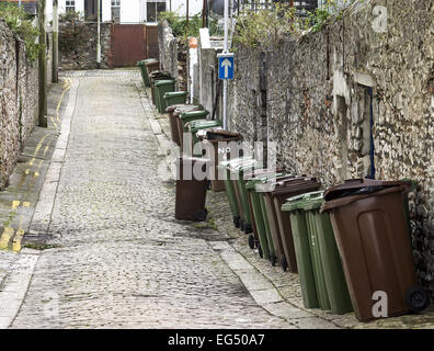 recycling,bins,city,town,street,back yard,uk,england,low class,Garbage Bin,Cityscape,Residential - Stock Photo