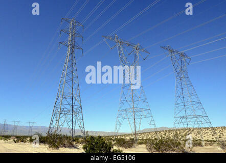 Palm Springs, California, USA. 14th Feb, 2015. Power line infrastructure includes towers and poles pulling electrical - Stock Photo