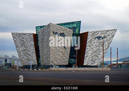 The futuristic Titanic museum building on the banks of the Lagan river in Belfast Northern Ireland. - Stock Photo