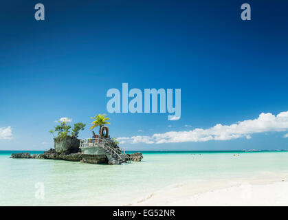 white beach and christian shrine on boracay tropical island in philippines asia - Stock Photo