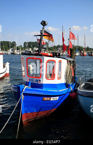 Fishing boats in the harbour, Travemuende, Baltic Sea coast,  Schleswig-Holstein,Germany, Europe