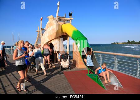 New pier in  Niendorf, Baltic Sea coast, Schleswig-Holstein, Germany, Europe - Stock Photo