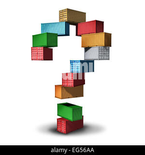 Cargo question concept and shipment information symbol as a group of transport shipping containers stacked in the - Stock Photo