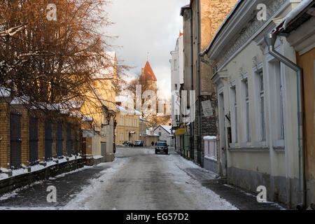 Wintery Uus Street in Tallinn Estonia - Stock Photo
