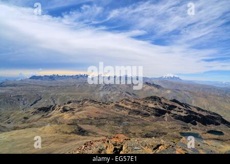 View of Huayna Potosi in Cordillera Real from Chacaltaya Range near La Paz, Bolivian Andes - Stock Photo