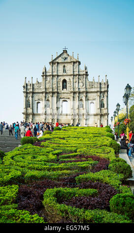 ruins of st paul's gate portuguese colonial landmark in macau china - Stock Photo