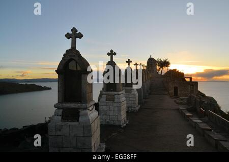 Catholic Way of the Cross, depicting Christs last hours in Copacabana, Lake Titicaca, Bolivia - Stock Photo