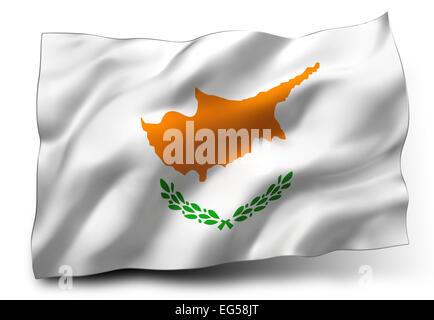 Waving flag of Cyprus isolated on white background - Stock Photo