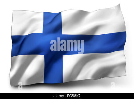 Waving flag of Finland isolated on white background - Stock Photo