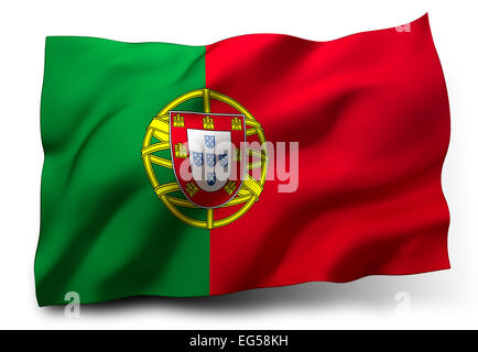 Waving flag of Portugal isolated on white background - Stock Photo