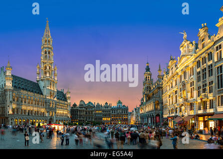 Brussels, grand Place at Dusk - Stock Photo