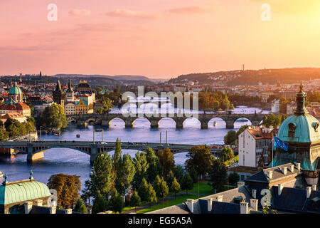 Over of Vlatava river and Charles bridge and bridges of Prague. - Stock Photo