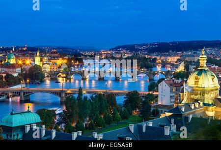 Over of Vlatava river and Charles bridge and bridges of Prague. - Stock Photo