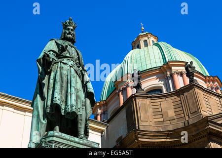 Statue Charles IV in Knights of the Cross Square, Prague - Stock Photo