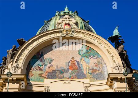Prague, Art Nouveau Municipal House in Old Town - Stock Photo