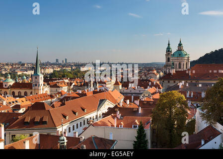 Mala Strana and Saint Nicholas Church, Prague - Stock Photo