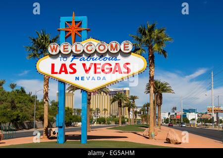 USA, Nevada, Las Vegas, welcome sign on Las Vegas - Stock Photo