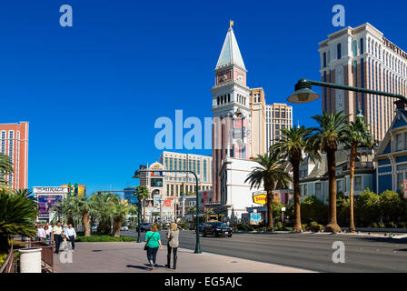 Luxury Hotels and the famous Las Vegas Strip - Stock Photo