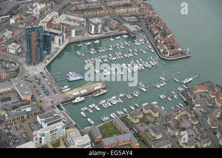 An aerial view of the Ocean Village Marina in Southampton - Stock Photo
