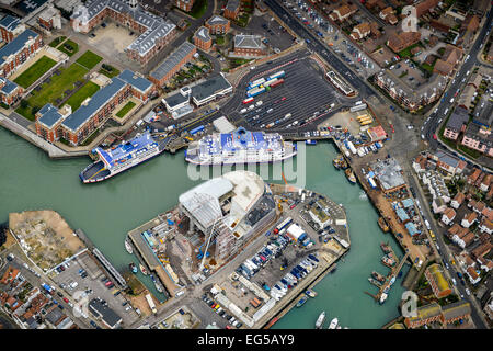 An aerial view of the Isle of Wight Ferry leaving from Portsmouths Gunwharf Ferry Port - Stock Photo