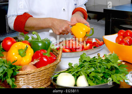 Marche , Ascoli Piceno , San Benedetto del Tronto , Fish Soup Sanbenedettese , all the vegetables are cut . - Stock Photo