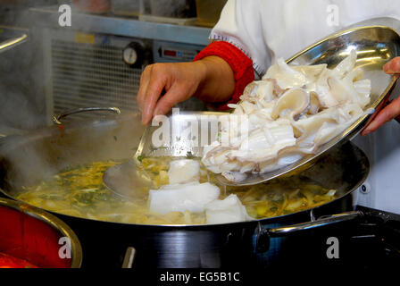 Marche , Ascoli Piceno , San Benedetto del Tronto , Fish Soup Sanbenedettese , they are baked cuttlefish. - Stock Photo