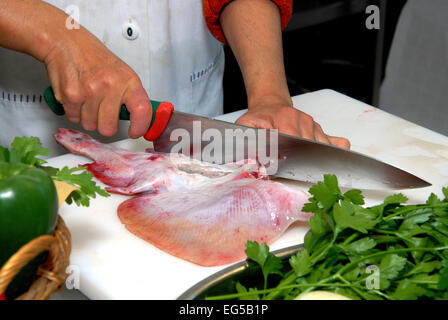 Marche , Ascoli Piceno , San Benedetto del Tronto , Fish Soup Sanbenedettese , race is cut. - Stock Photo