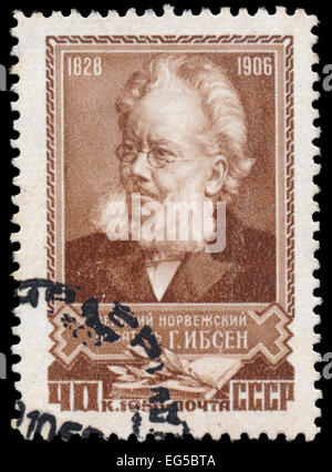 RUSSIA - CIRCA 1956: A stamp printed in USSR, shows portrait of the Henrik Ibsen (1828-1906), circa 1956 - Stock Photo