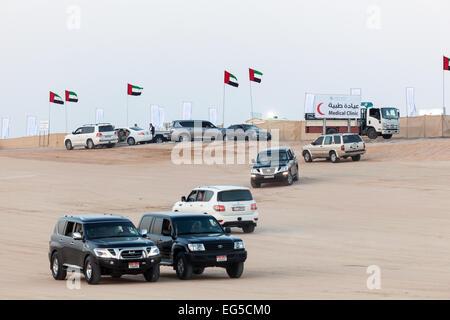 Emirati people in their cars at Al Dhafra Camel Festival in Al Gharbia - Stock Photo