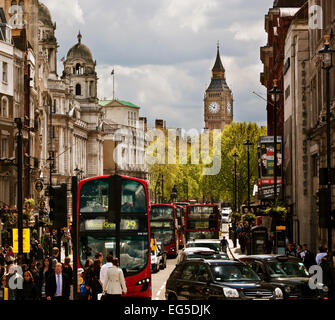 LONDON - September 18: Busy street of London, England, the UK. London is one of the most crowded cities in the world. - Stock Photo