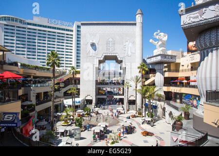 Los Angeles, USA - 5 July: A view over the main square of Hollywood & Highland on a summer's day in 2014. - Stock Photo