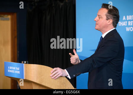 Hove, UK. 17th Feb, 2015. Prime Minister David Cameron makes a speech on 17/02/2015 at Blatchington Mill School, - Stock Photo
