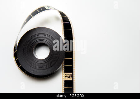 Unrolled 35mm movie reel with head picture frame in vertical Stock ...