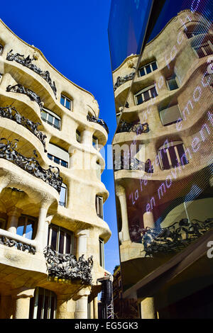 Mila house aka La Pedrera, Designed by Antoni Gaudi architect. Barcelona, Catalonia, Spain. - Stock Photo