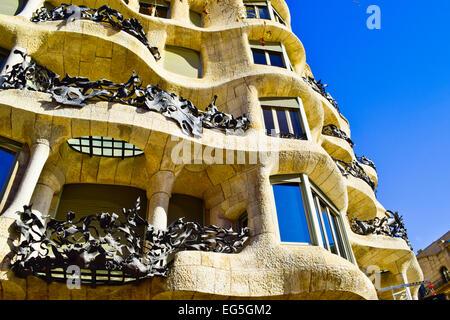 Casa Mila aka La Pedrera designed by Antoni Gaudi architect. Barcelona, Catalonia, Spain. - Stock Photo