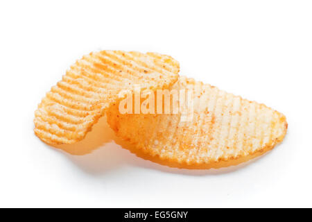 Two spiced potato chips isolated on white background - Stock Photo