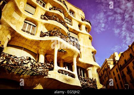 Mila house aka La Pedrera, Designed by Antoni Gaudi architect. Barcelona, Catalonia, Spain.