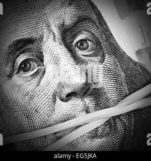 Money keeps silent. Corruption and crime concept - Stock Photo
