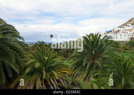 View from Arucas towards Atlantic Ocean, Gran Canaria, Canary Islands - Stock Photo