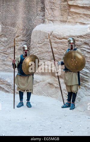 Dramatization of the battle in lost town Petra, Jordan - Warriors - Stock Photo