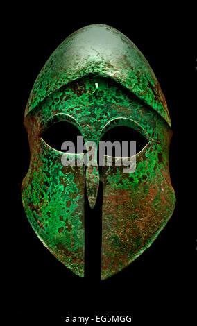 Corinthian helmet 5th Century BC Greek Greece ( Staatliche Antikensammlungen Munich Germany ) - Stock Photo