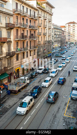 Turin, Italy. 17th February, 2015. Protest march of taxi in Via Nizza, in Turin, Italy  About 700 angry taxi drivers - Stock Photo