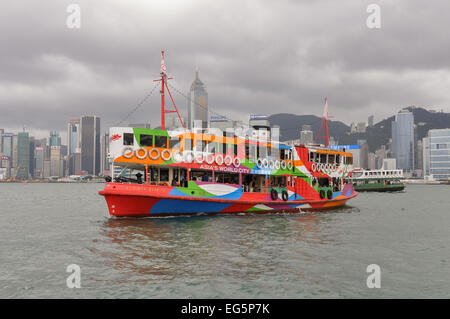 'Night Star' - One of twelve ferries operating as The Star Ferry across Victoria Harbour between Hong Kong Island - Stock Photo