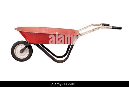 Antique Rusty Wheelbarrow isolated on white. - Stock Photo