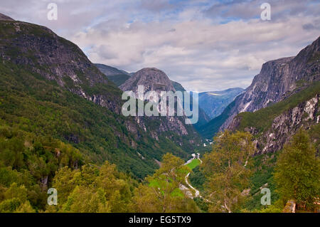 View on Naeroydalen valley - Stock Photo