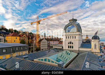 Casino view in  Evian-les-Bains in France in winter - Stock Photo