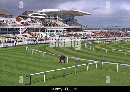 A pristine Aintree Racecourse at lunchtime before the Grand National / Liverpool / Merseyside / UK - Stock Photo