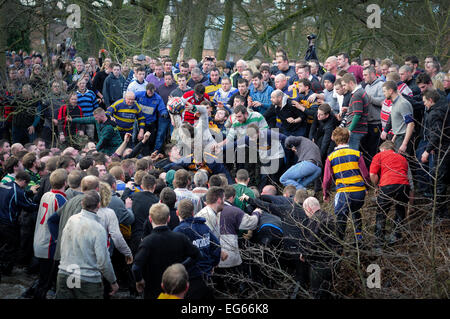 Ashbourne,Derbyshire,UK.17th February 2015. The annual two day shrovetide football game got underway today with - Stock Photo