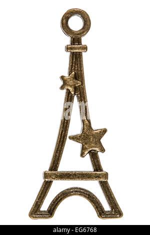Eiffel Tower, decorative element, isolated on white background - Stock Photo