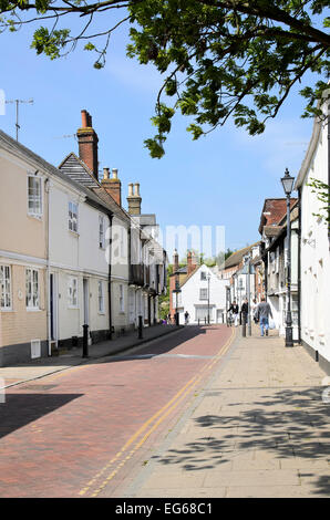 view along west street faversham in kent - Stock Photo